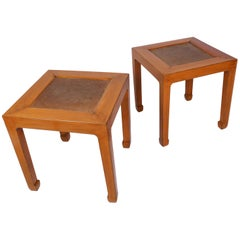 Pair of Chinese Midcentury Modern Lacquer and Rattan Low Tables