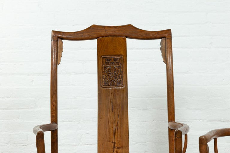 Pair of Chinese Ming Dynasty Style Elmwood Scholar' Armchairs with Rattan Seats For Sale 6
