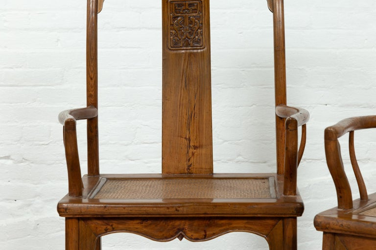 Pair of Chinese Ming Dynasty Style Elmwood Scholar' Armchairs with Rattan Seats For Sale 7
