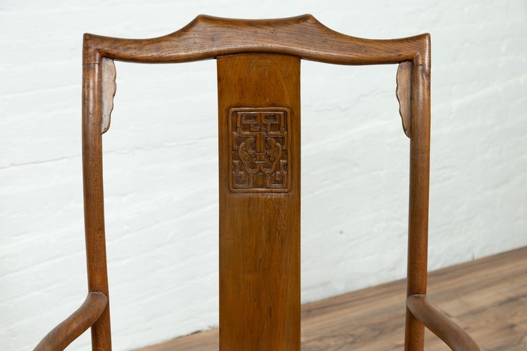 Pair of Chinese Ming Dynasty Style Elmwood Scholar' Armchairs with Rattan Seats For Sale 10