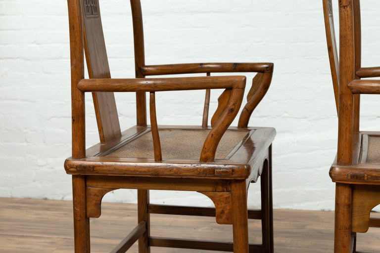 Pair of Chinese Ming Dynasty Style Elmwood Scholar' Armchairs with Rattan Seats For Sale 12
