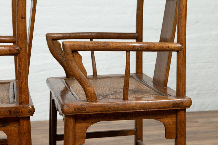 Pair of Chinese Ming Dynasty Style Elmwood Scholar' Armchairs with Rattan Seats For Sale 14