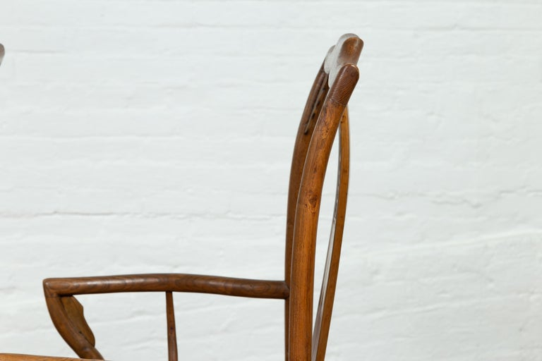 Pair of Chinese Ming Dynasty Style Elmwood Scholar' Armchairs with Rattan Seats For Sale 15