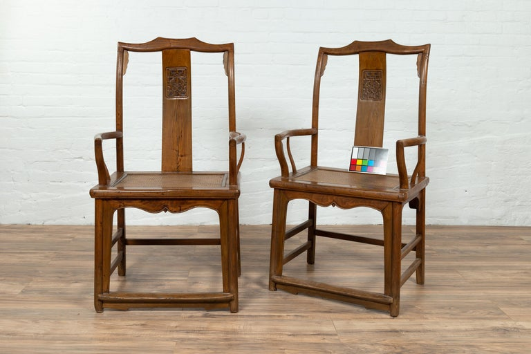 Pair of Chinese Ming Dynasty Style Elmwood Scholar' Armchairs with Rattan Seats For Sale 16