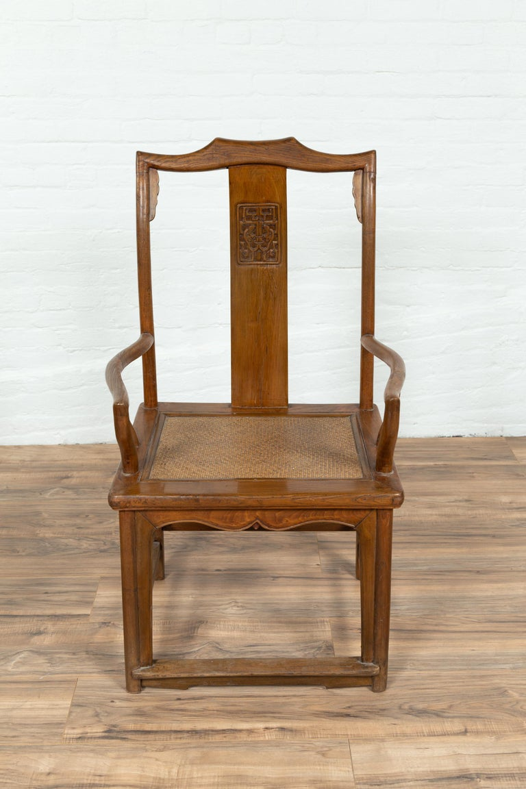 20th Century Pair of Chinese Ming Dynasty Style Elmwood Scholar' Armchairs with Rattan Seats For Sale