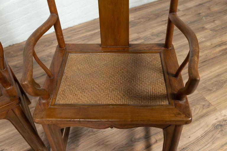 Pair of Chinese Ming Dynasty Style Elmwood Scholar' Armchairs with Rattan Seats For Sale 2