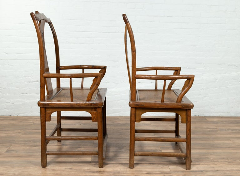 Pair of Chinese Ming Dynasty Style Elmwood Scholar' Armchairs with Rattan Seats For Sale 3