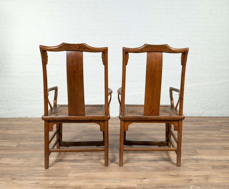 Pair of Chinese Ming Dynasty Style Elmwood Scholar' Armchairs with Rattan Seats For Sale 4