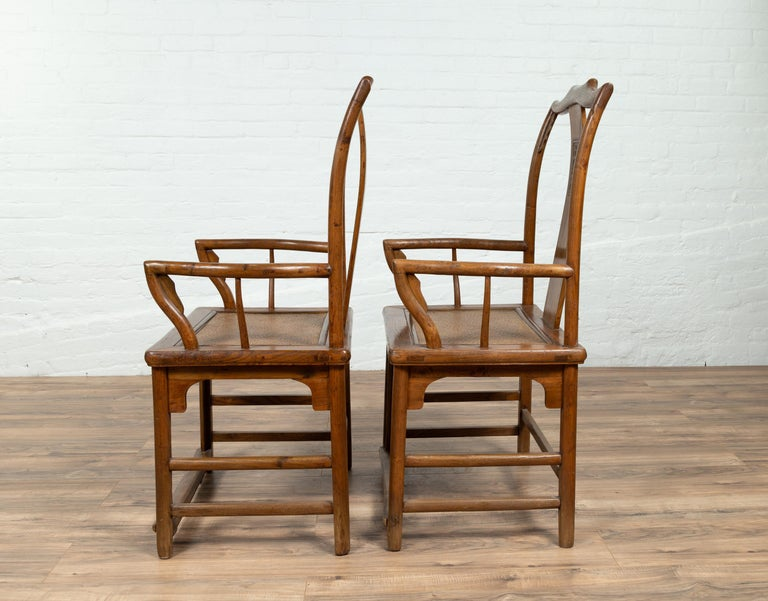 Pair of Chinese Ming Dynasty Style Elmwood Scholar' Armchairs with Rattan Seats For Sale 5