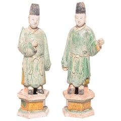 Pair of Chinese Mingqi Celestial Attendants