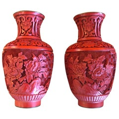 Pair of Chinese Mirror Image Cinnabar Lacquered Vases