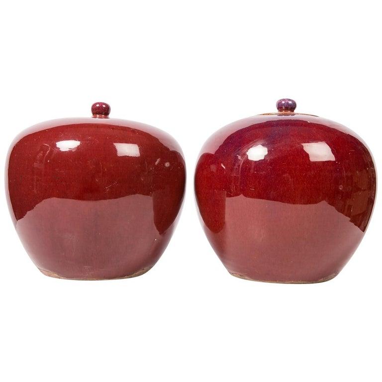 Zwei Chinesische Monochrome Rote Ingwergläser 1