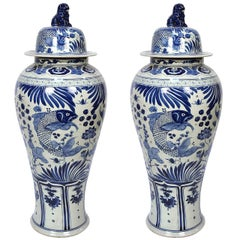 Pair of Chinese Monumental Blue and White Fish Jars with Shizi Tops