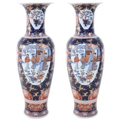 Pair of Chinese Monumental Imari-Style Blue Porcelain Urns