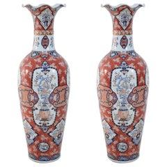 Pair of Chinese Monumental Imari-Style Monumental Orange Porcelain Vases