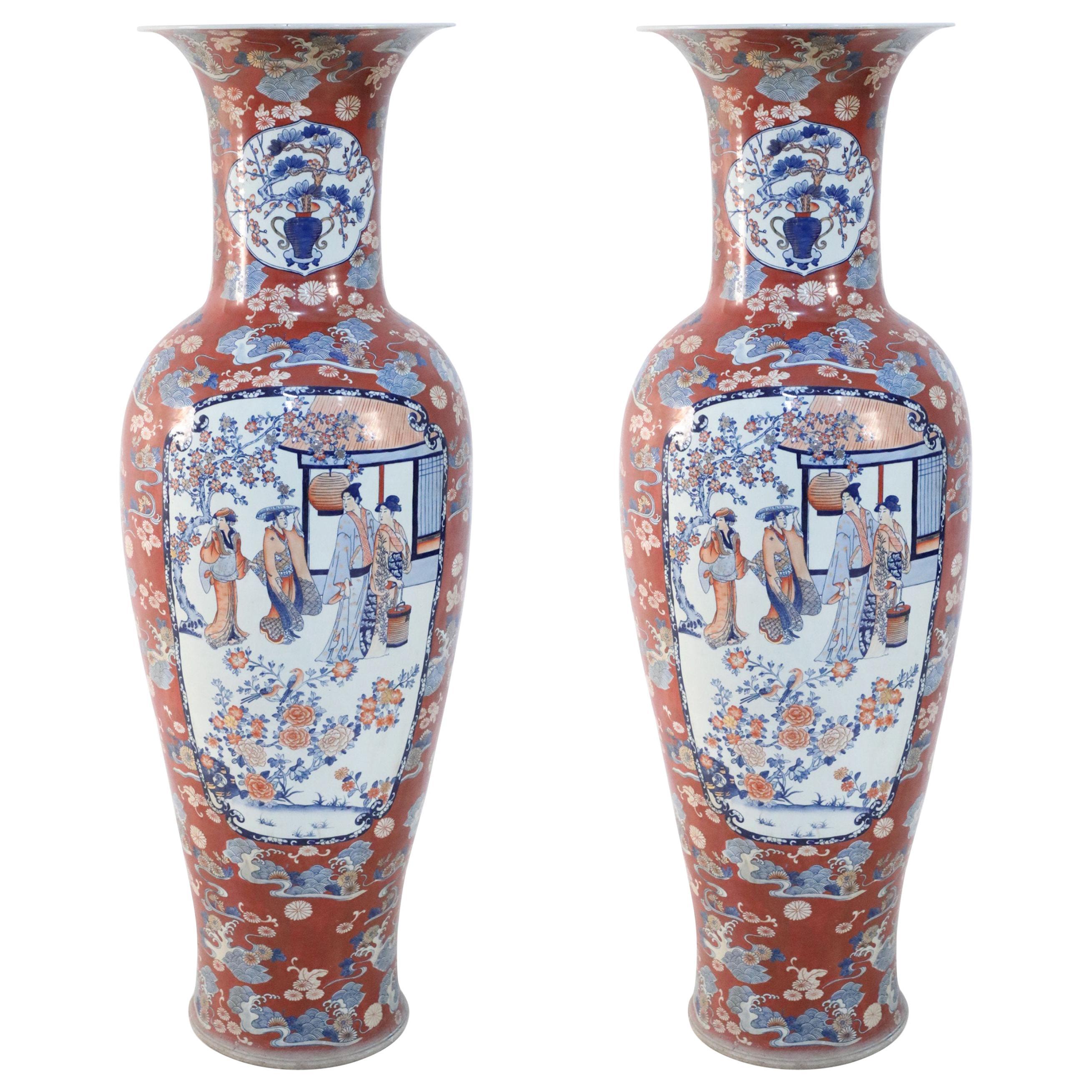 Pair of Chinese Monumental Imari-Style Orange Porcelain Urns