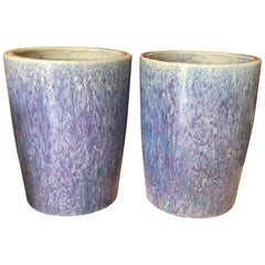 Pair of Chinese Multi-Glazed in Blue Tall Planters