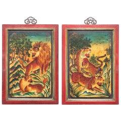 Pair of Chinese Mythological Painted Panels