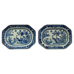 Pair of Chinese Nanking Blue and White Platers, 18th Century
