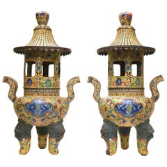 Pair of Chinese Pagoda Form Cloisonne Enamel Metal Censers