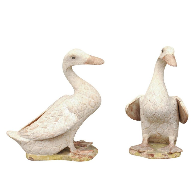 Pair Of Chinese Painted And Carved Wooden Duck Sculptures Circa 1890
