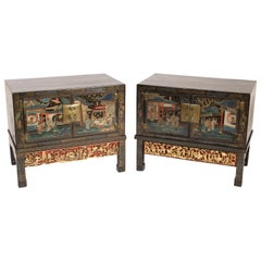 Pair of Chinese Painted Cabinets on Stands