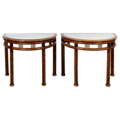 Pair of Chinese Painted Demilune Console Tables