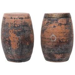 Pair of Chinese Painted Drum Stools, c. 1900
