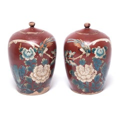 Pair of Chinese Painted Oxblood Jars with Phoenix & Peonies