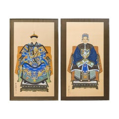Pair of Chinese Patriarch Matriarch Silk Ancestral Portraits