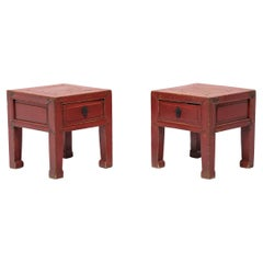 Pair of Chinese Petite Red Lacquer Square Stools, c. 1850