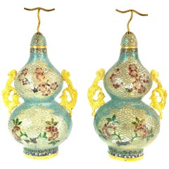 Pair of Chinese Plique-à-Jour Enamel Double Gourd Vases