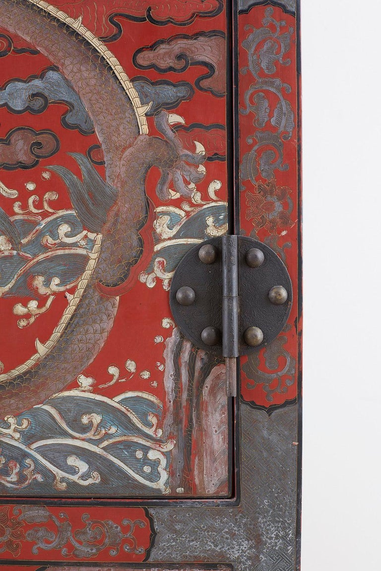 Pair of Chinese Polychrome Decorated Compound Dragon Cabinets For Sale 3