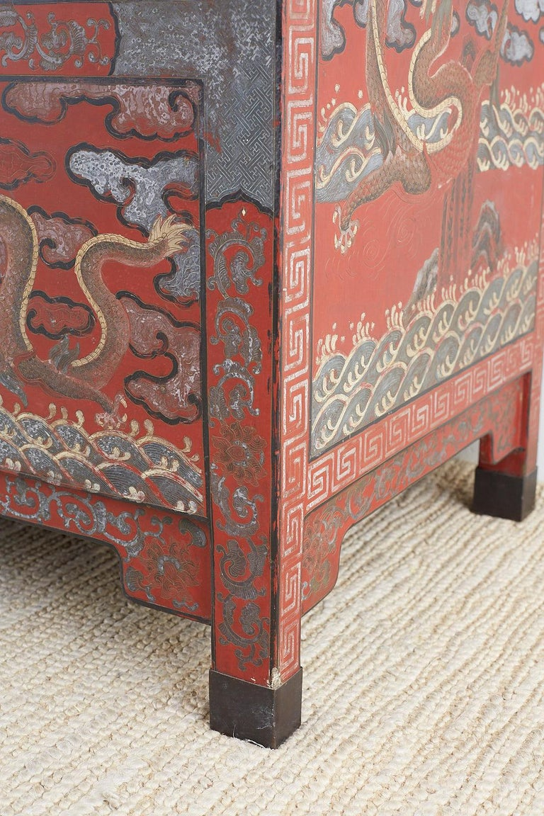 Pair of Chinese Polychrome Decorated Compound Dragon Cabinets For Sale 5