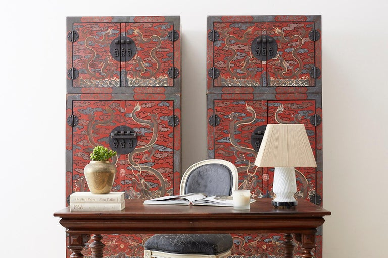 Pair of Chinese Polychrome Decorated Compound Dragon Cabinets For Sale 6