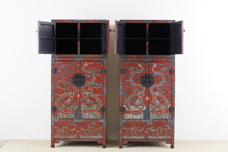Pair of Chinese Polychrome Decorated Compound Dragon Cabinets For Sale 7