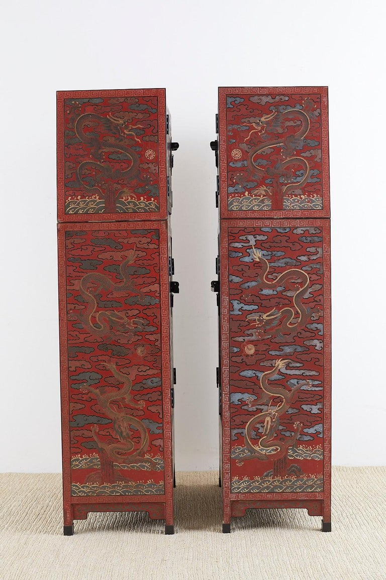Pair of Chinese Polychrome Decorated Compound Dragon Cabinets For Sale 9