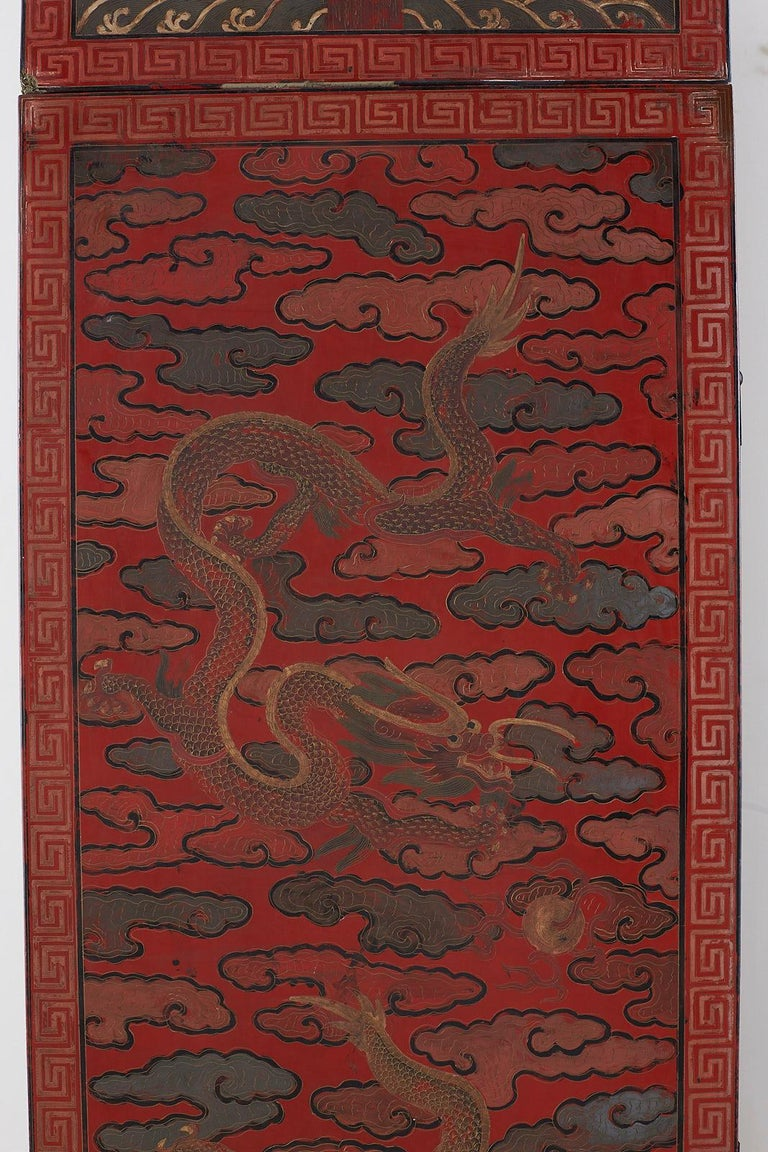 Pair of Chinese Polychrome Decorated Compound Dragon Cabinets For Sale 10