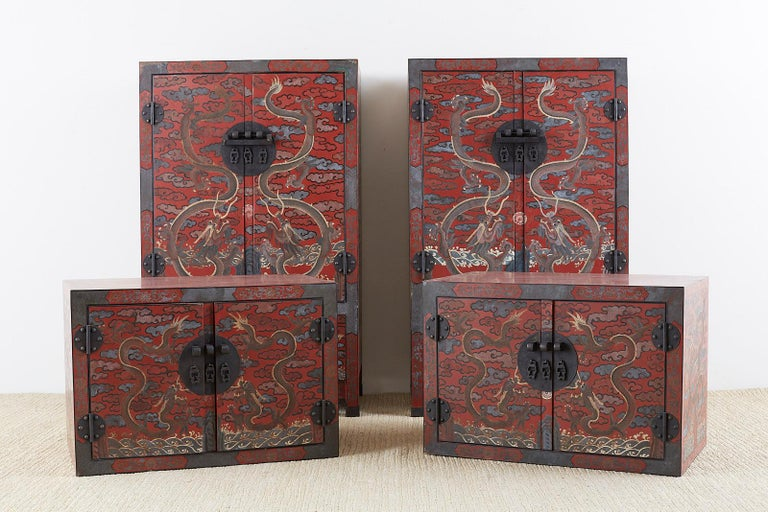 Pair of Chinese Polychrome Decorated Compound Dragon Cabinets In Good Condition For Sale In Oakland, CA