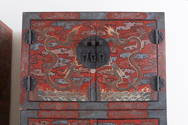 Brass Pair of Chinese Polychrome Decorated Compound Dragon Cabinets For Sale