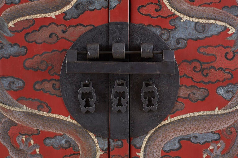 Pair of Chinese Polychrome Decorated Compound Dragon Cabinets For Sale 2