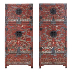 Pair of Chinese Polychrome Decorated Compound Dragon Cabinets