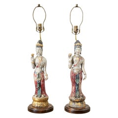 Pair of Chinese Polychrome Quan Yin Deity Table Lamps