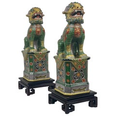 Pair of Polychromed Porcelain Chinese Foo Dogs on Stands-Green, Yellow, Red