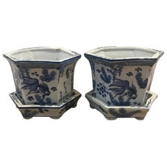Pair of Chinese Porcelain Blue and White Planters