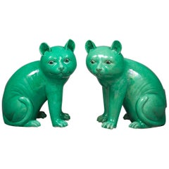 Pair of Chinese Porcelain Cats, circa 1750