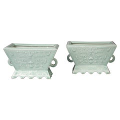 Pair of Chinese Porcelain Celadon Two-Handled Cachepots, circa 1880