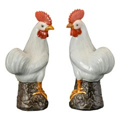 Pair of Chinese Porcelain Cockerels or Roosters