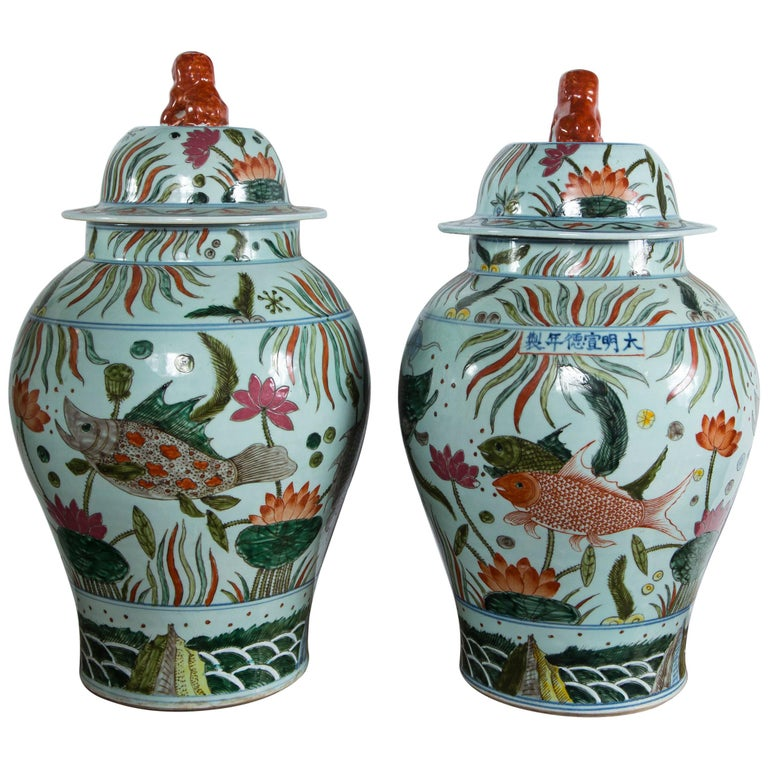 Pair of Chinese Porcelain Covered Jars For Sale