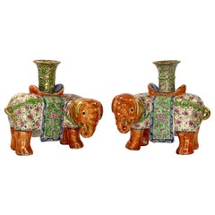 Pair of Chinese Porcelain Elephant Joss Stick Holders, circa 1850, Qing Dynasty